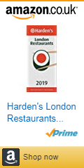 Front cover of the Harden's London restaurant guide 2019 with Amazon affiliate link